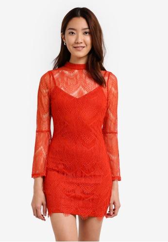 Something Borrowed orange Flare Sleeve Lace Bodycon Dress 2B453AA7C6F0A0GS_1