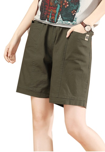A-IN GIRLS green Elastic Waist Casual Shorts 6F5FCAA03A29CCGS_1