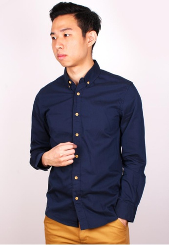 Moley navy Classic Plain Shirt w Crafted Wood Button MO329AA95IUASG_1