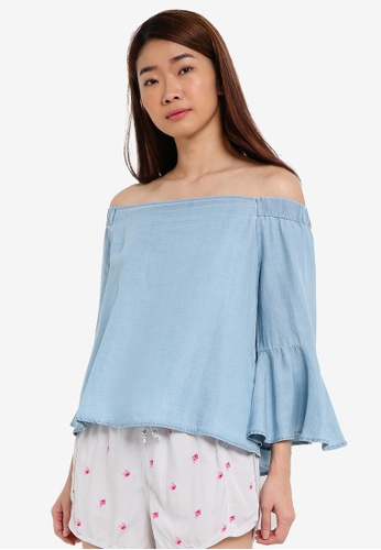 Cotton On blue Abbie Off The Shoulder Top CO372AA0S4Z6MY_1