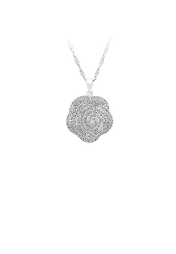 Glamorousky silver 925 Sterling Silver Rose Pendant with White Cubic Zircon and Necklace 54AC1ACF9F3C33GS_1