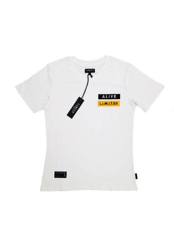 L.I.M.I.T.E 白色 全棉雙刺繡章Tee 8D394AAB343249GS_1