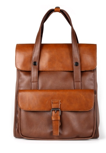 Lara multi and brown Plain Top Handle Buckle Flap Backpack - Khaki F1A02ACB4A469EGS_1