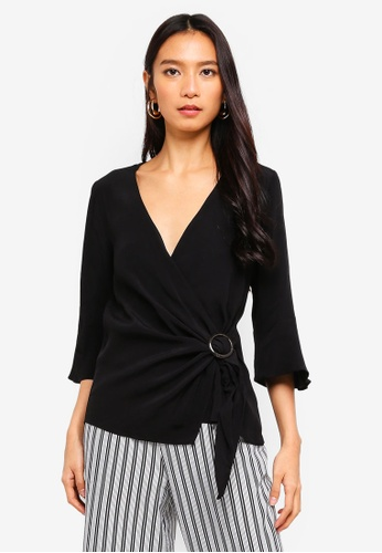 River Island black Wrap Blouse BE5CAAAFCC7AF1GS_1