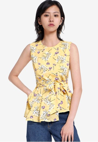 Saturday Club yellow Tied Floral Printed Top EE49EAAC92E043GS_1