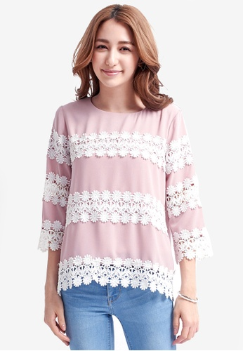 Yoco purple Embroidered Lace Top 43EF9AAC2D8DB4GS_1
