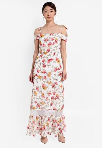 cd0a854a41e4f Something Borrowed white Lace Panel Cold Shoulder Maxi Dress  75A7DAA977F9B3GS 1