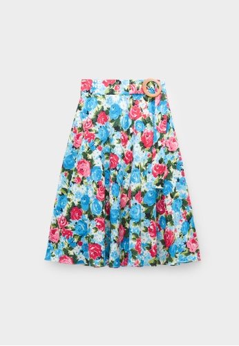 Pomelo pink Bold Floral Buckle Flare Skirt - Pink 9613AAA2233FFAGS_1