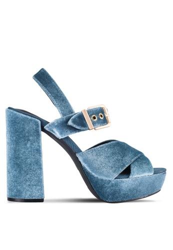 ZALORA 藍色 Velvet Pump ECB67SHEAEC2EFGS_1