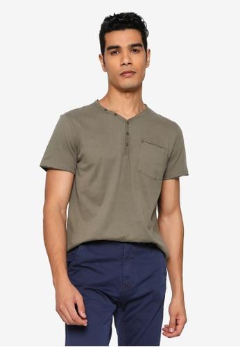 BLEND green Relaxed V-Neck T-Shirt DD7FEAA5672D60GS_1