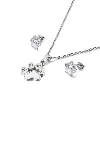 Glamorousky white Fashion Cute Cat Paw 316L Stainless Steel Necklace and Stud Earrings Set with Cubic Zirconia 6FB99ACF433CA9GS_1