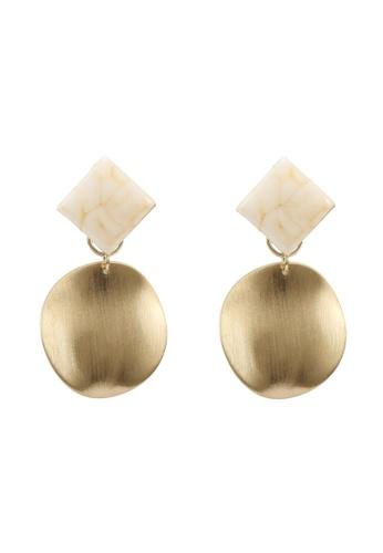 GLOBAL WORK white Geo Dangle Earrings 84CBFAC86F9307GS_1