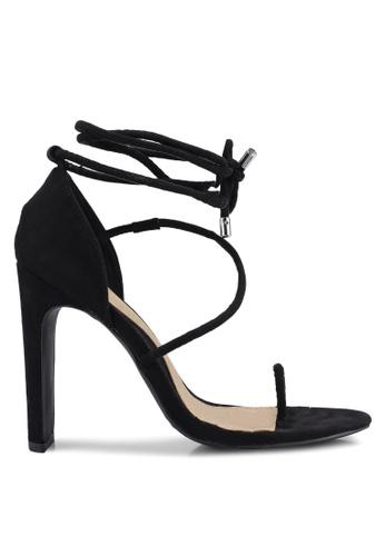 MISSGUIDED 黑色 麂皮繞帶高跟鞋 D5E09SHF182E5AGS_1