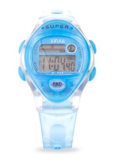 Kid's LED Water Resistant Sports Watch Unisex Blue Plastic Strap XJ-663