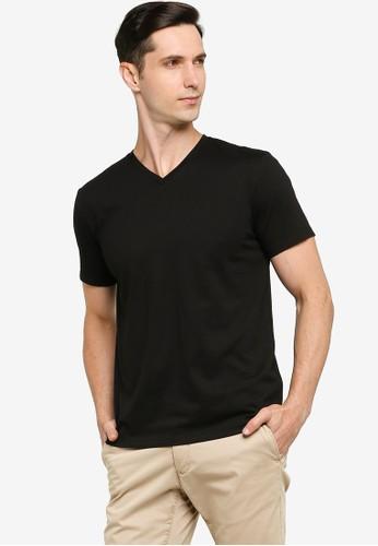 ZALORA BASICS black Regular Fit V Neck T-shirt 923F1AAD7C1CD4GS_1
