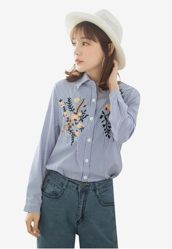 Tokichoi blue and multi Floral Embroidered Buttoned Up Blouse 56D67AA1C4F24BGS_1