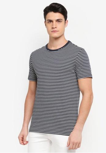 Burton Menswear London 海軍藍色 短袖條紋T恤 61DCAAA7B98BD3GS_1