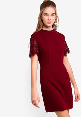 Something Borrowed red Lace Raglan Sleeves Shift Dress D057BAAEC25E9EGS_1