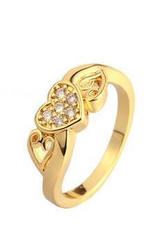 18k Gold Plated Blazing Heart Ring (Size 7)