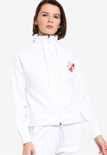 ck Calvin Klein white VALENTINE TERRY TOP WITH OTTOMAN KNIT ZIP-UP E404FAA4DE10D5GS_1
