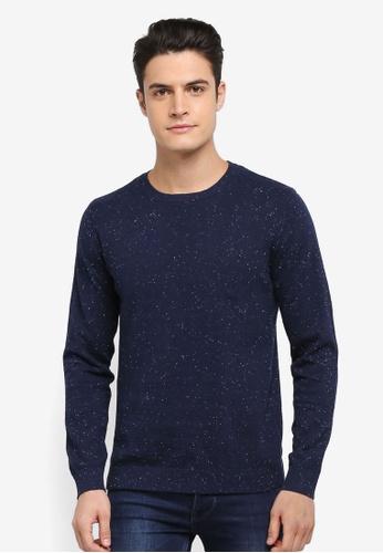 Selected Homme 藍色 長袖花紋針織毛衣 DF57AAABF8040CGS_1