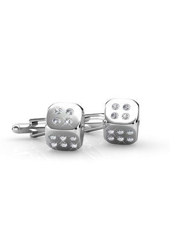 Her Jewellery silver Swarovski® Crystals - Dice Cufflink (18K White Gold Plated) Her Jewellery HE581AC0REOLMY_1