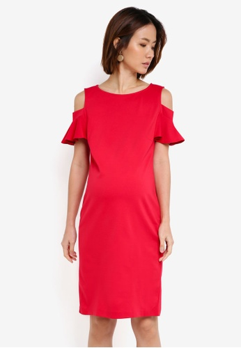 6f7577c7003 Pietro Brunelli Milano red Maddalena Cold Shoulder Maternity Dress  67D86AAA6CD419GS 1