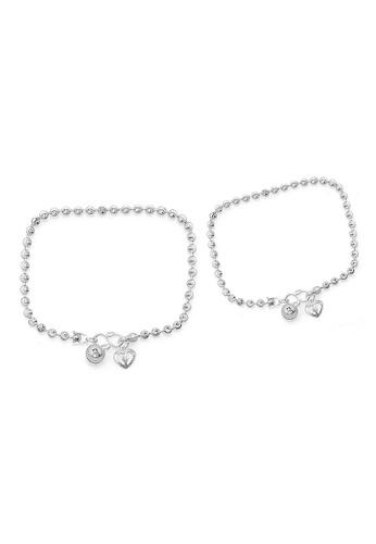 Elfi silver Elfi 925 Genuine Solid Silver Carved Bracelet Anklet Set SBA-01 EL186AC42NGRMY_1