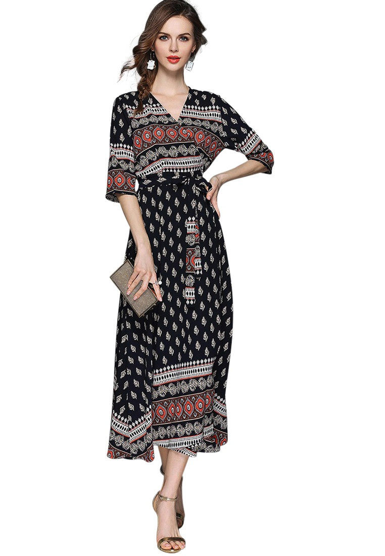 2018 Wrapped Neck One V Piece New A050328 Multi Dress Sunnydaysweety Hqvr7xHw
