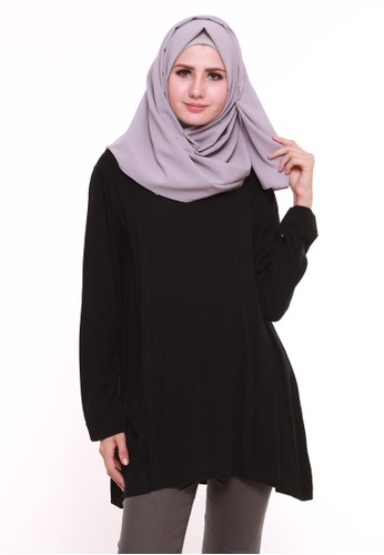 Breastfeeding Pleated Tunic Black