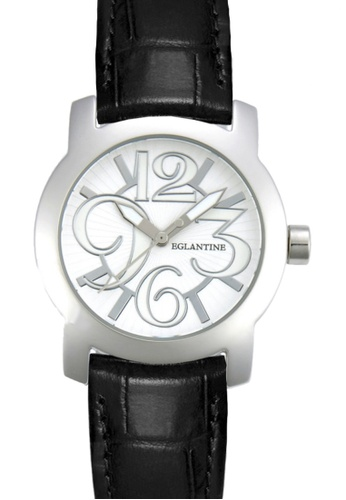 EGLANTINE black and silver EGLANTINE® Sara Steel quartz Watch on Black Leather Strap C2BC6ACCE01E09GS_1