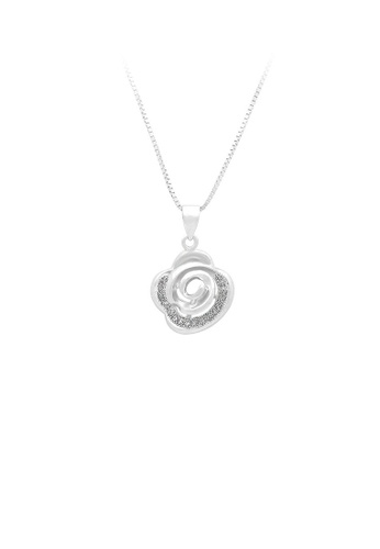 Glamorousky silver 925 Sterling Silver Rose Pendant with White Cubic Zircon and Necklace 080EAACA81237BGS_1