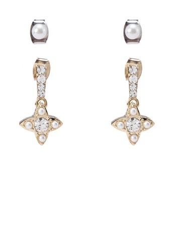 Dual Pearl Diamante Earrings, 飾品配件, 飾品zalora 心得配件