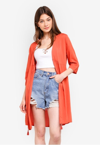 Something Borrowed red Front Tie Cardigan 72432AA4ABC69AGS_1