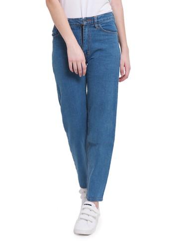 Evernoon blue Celana Jeans Boyfriend Motif Plain Bawahan Wanita Regular Fit - Medium Blue 4763EAAF6285D3GS_1
