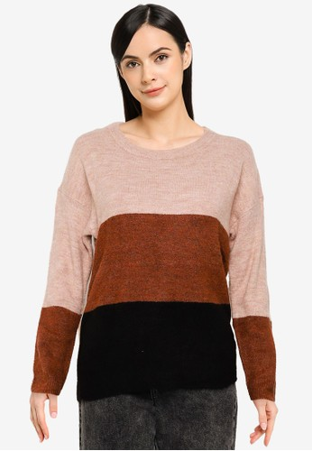 JACQUELINE DE YONG black and multi and brown Elanora Long Sleeves Stripe Pullover 1FC27AA88A34D6GS_1