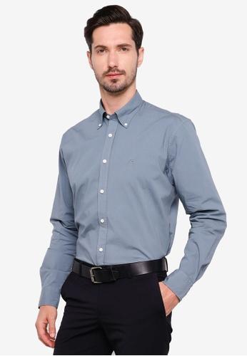 Sacoor Brothers blue Regular fit cotton elastane comfort poplin shirt in garment dye DC980AA4DB168EGS_1