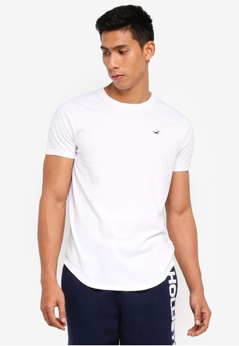 Hollister white Curved Hem T-Shirt 82648AADD29B03GS_1