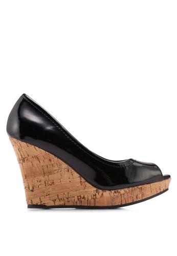 Bata 黑色 漆皮魚口楔型鞋 06953SHDE12C2AGS_1