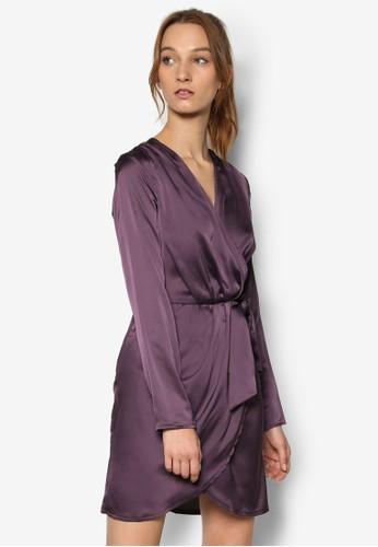 絲綢裹飾V 領繫帶連esprit 寢具身睡裙, 服飾, 洋裝