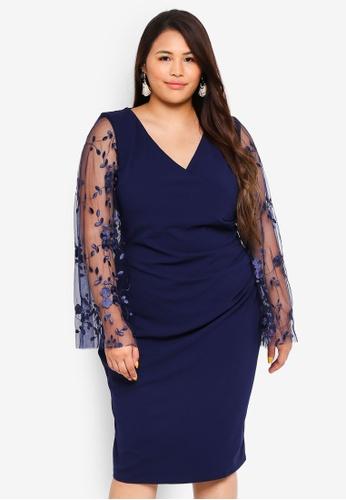 Buy Goddiva Plus Size Lace Long Sleeve Dress Online On Zalora Singapore