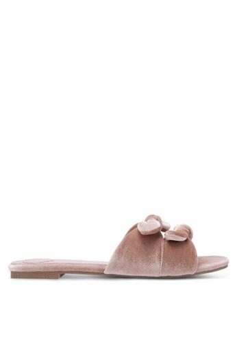 Velvet beige Velvet Bow Slide Sandals F625FSHDD6F0C4GS_1