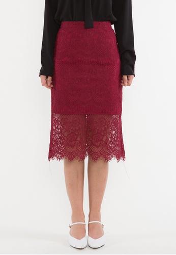 BEBEBEIGE red BebeBeige Rockabilly Ruffled Lace Pencil Midi Skirt 5A5EAAADDC104EGS_1