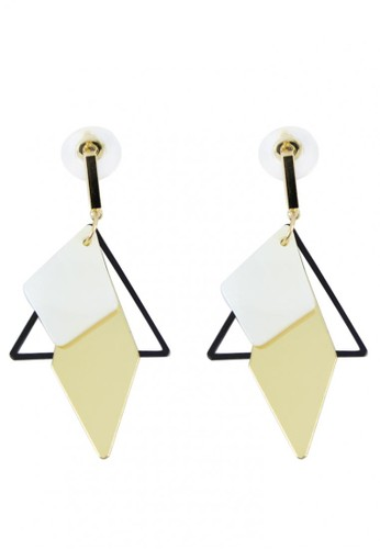 LOOP AND HOOP gold Maine triangular diamond drop earring EA106AC842F0A9GS_1