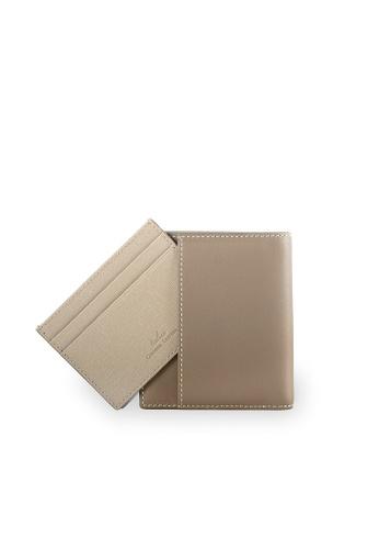 Samuel Ashley beige Warren Vertical Wallet w/ Detachable Card Holder (RFID) - Taupe 90CC5AC74885B9GS_1