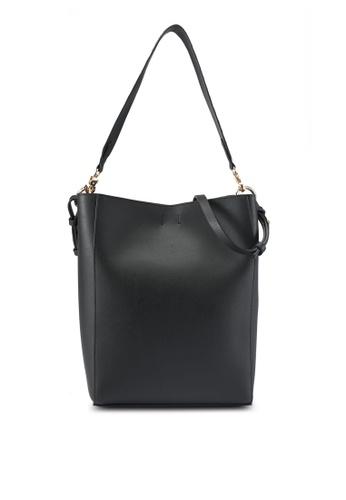 ZALORA black Contrast Strap Hobo Bag 131F5ACA04620FGS_1