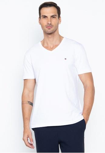 d32975e2 Tommy Hilfiger white Core Stretch Slim V Neckline T-Shirt 7FA28AAD090187GS_1