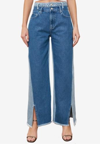 Trendyol blue Colorblock Slitted High Waist Jeans 0E59CAA59F2F8FGS_1