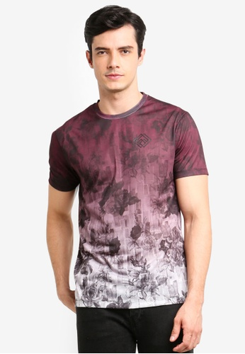 Burton Menswear London red Burgundy Iconic Flo Fade T-Shirt A1C25AABC1FFAAGS_1