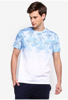 214115a128 Burton Menswear London white White and Blue Palm Leaf and Floral Print Fade  T-Shirt